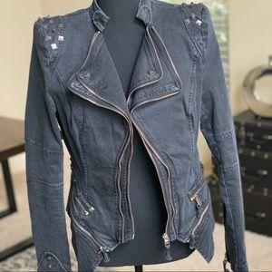 Gray Moto Jacket with Metallic Studs